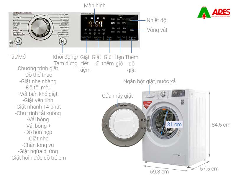 May giat LG Inverter 9 kg FC1409S3W
